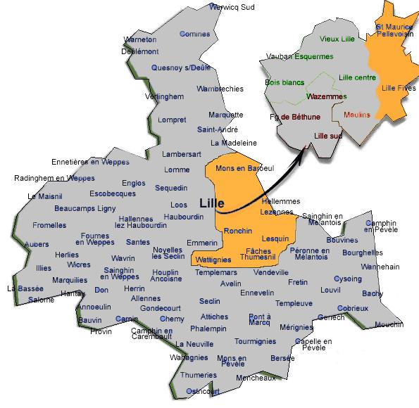 Carte de la zone d'intervention de l'AMF Lille